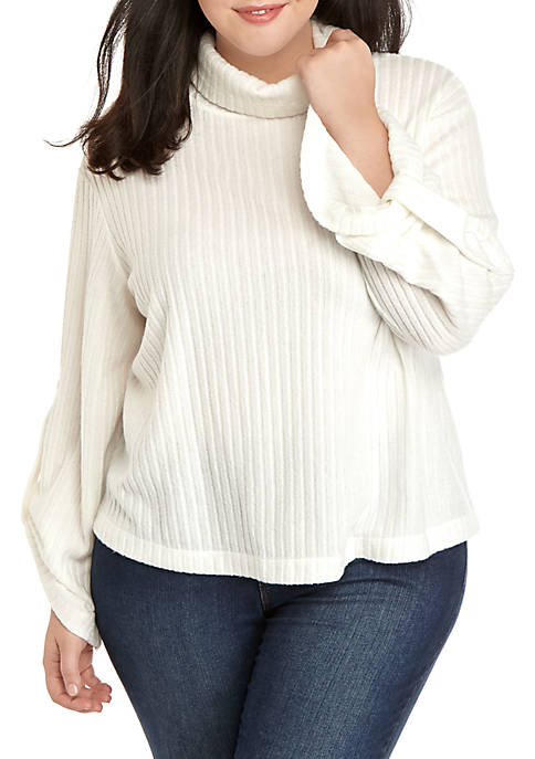 THE LIMITED Plus Size Ribbed Hacci Turtleneck Sweater