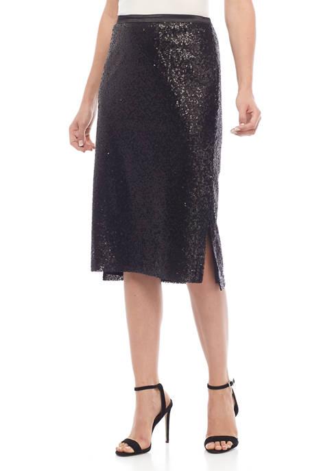 Womens Sequin Midi Skirt