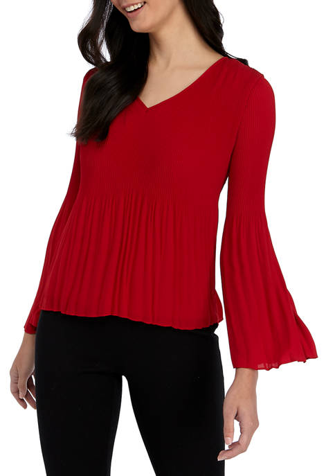 Womens Fluid Crepe V Neck Allover Pleat Top