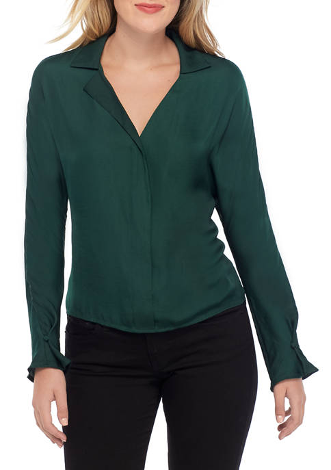 Womens Asymmetrical Collar V Neck Solid Blouse