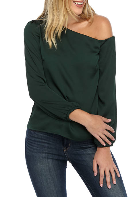 Womens One Shoulder Woven Top