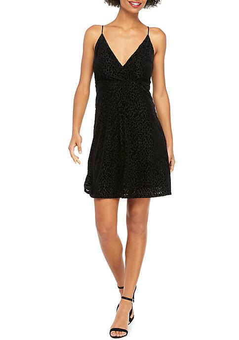 Petite Sleeveless A-Line Burnout Velvet Dress
