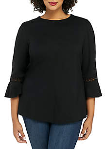 Plus Size 3/4 Lace Detail Sleeve Blouse