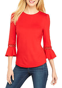 3/4 Sleeve Lace Detail Top