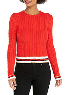 Striped Hem Cropped Cable Sweater