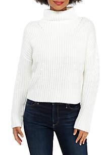 Petite Funnel Neck Crop Sweater