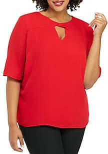 Plus Size Elbow Sleeve Twist Neck Blouse