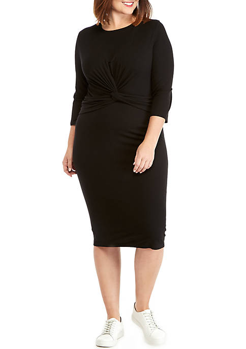 THE LIMITED Plus Size 3/4 Sleeve Knot Front