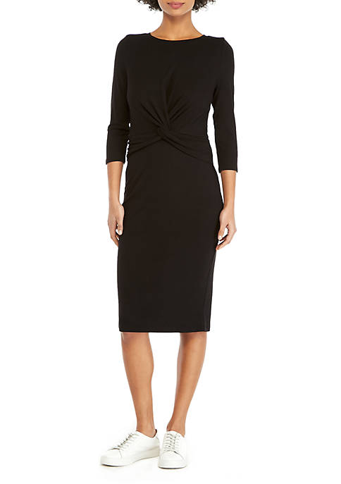 Petite 3/4 Sleeve Knot Front Dress