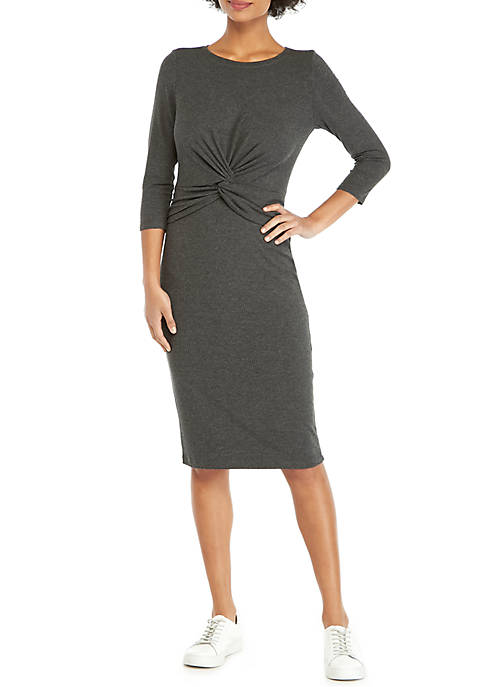 3/4 Sleeve Knot Front Dress