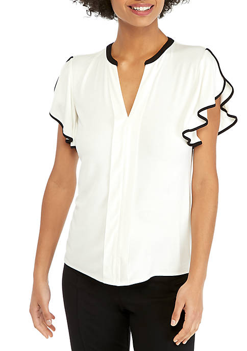 Flutter Sleeve Top with Center Placket