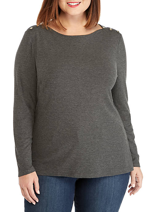 Plus Size Rib Knit Button Long Sleeve Top