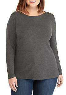 THE LIMITED Plus Size Rib Knit Button Long Sleeve Top
