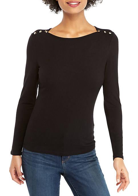 Rib Knit Button Long Sleeve Top