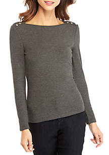 THE LIMITED Rib Knit Button Long Sleeve Top