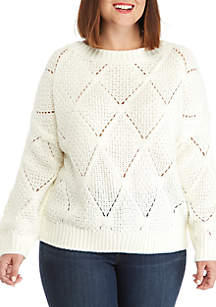 Plus Size Open Work Sweater