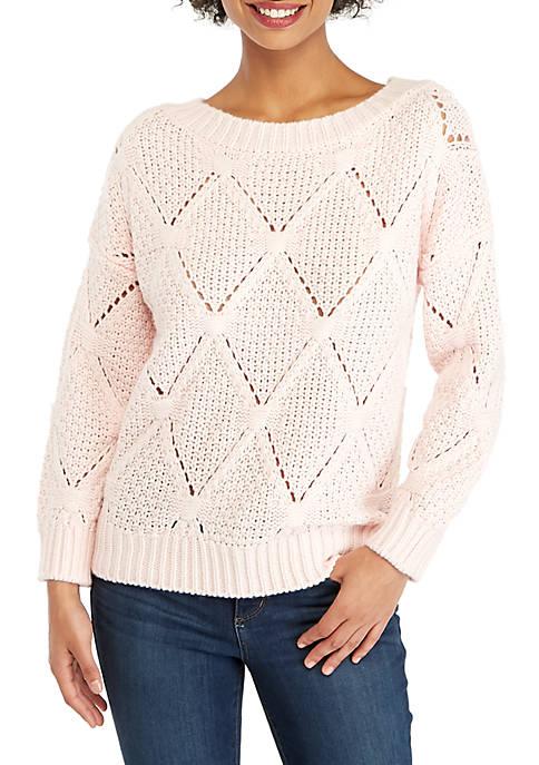 Petite Open Work Sweater