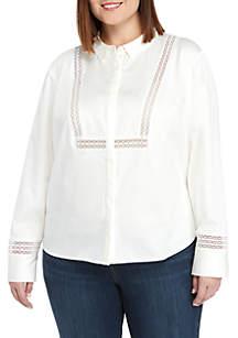 THE LIMITED Plus Size Lace Trim Shirt