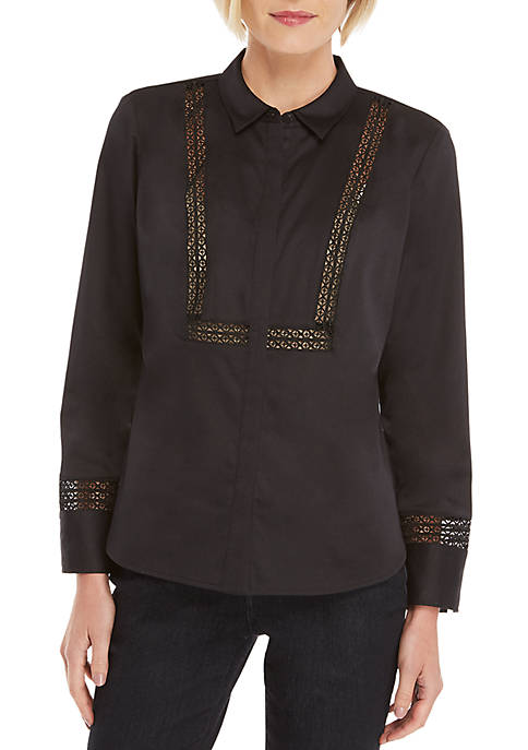 Shirt with Lace Trim