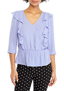 THE LIMITED V-Neck Ruffle Front Blouse