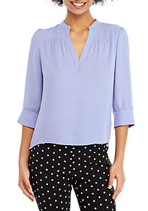 3/4 Puff Sleeve High Low Blouse