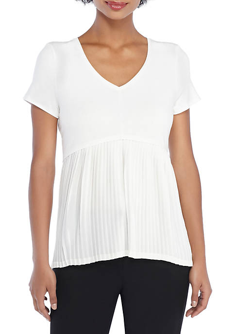 THE LIMITED V-Neck Pleat Hem Top