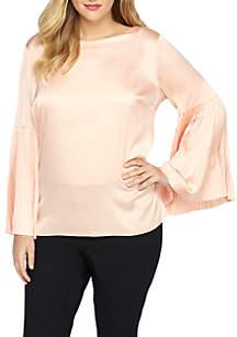 Plus Size Pleat Sleeve Blouse