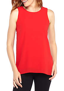 Solid Sleeveless Pleat Top