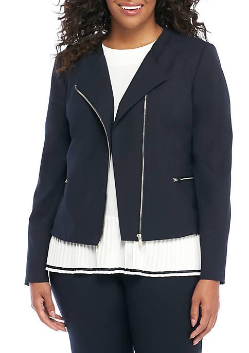 Plus Size Asymmetrical Zip Moto Jacket