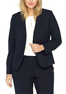 Plus Size Two Button Blazer in Modern Stretch