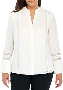 Plus Size Long Sleeve Lace Inset Blouse