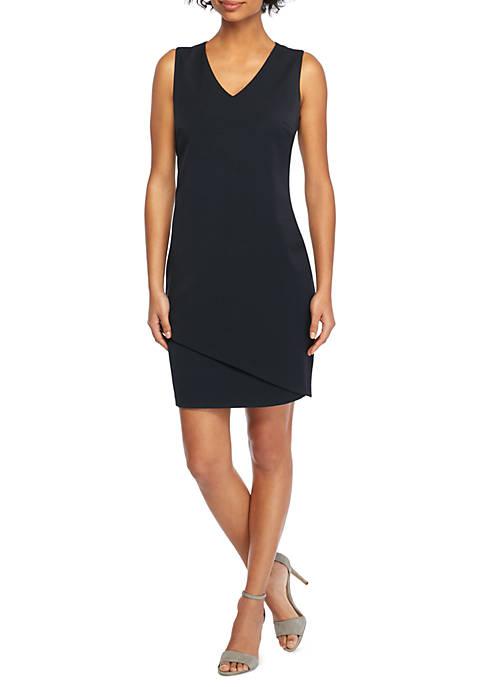 Two Way Spandex Twill Asymmetrical Dress