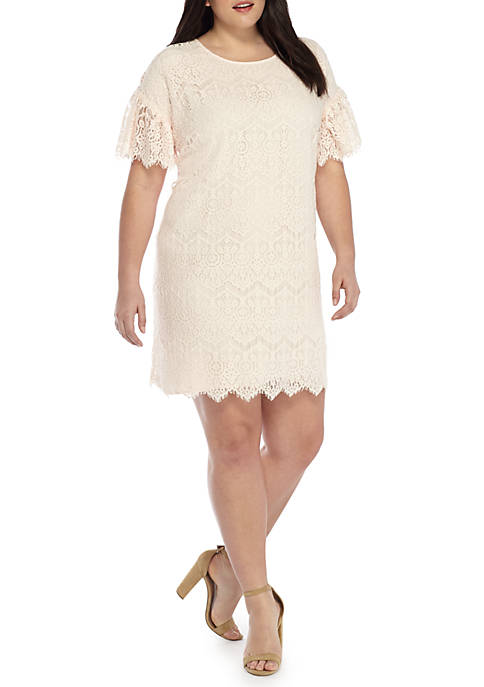THE LIMITED Plus Size Lace Flutter Sleeve Dress