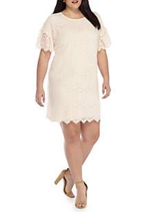 Plus Size Lace Flutter Sleeve Dress