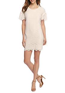 Petite Lace Flutter Sleeve Dress