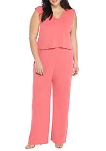 Plus Size Solid Sleeveless Jumpsuit