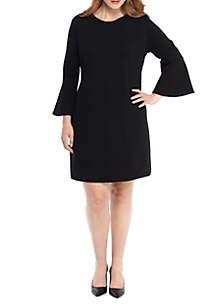 Plus Size Bell Sleeve Ponte Knit Dress