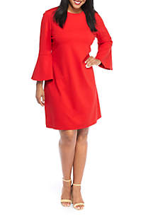 Plus Size Bell Sleeve Ponte Knit Dress