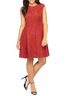 Plus Size Faux Suede Dress