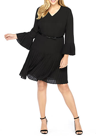The Limited Plus Size Solid Bell Sleeve Pleated Dress Belk