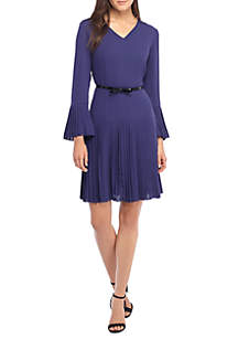 Solid Bell Sleeve Pleated Dress