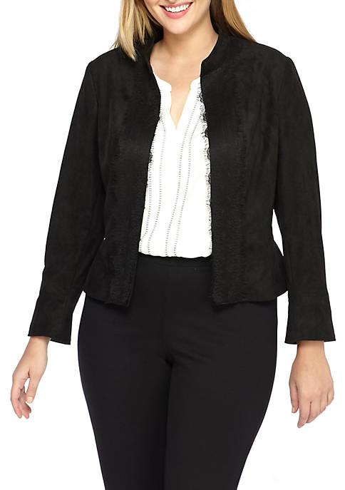 Plus Size Faux Suede Lace Trim Jacket