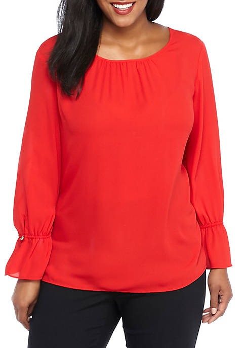 Plus Size Solid Baby Bell Sleeve Top