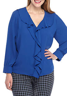 Plus Size Solid Ruffle Front Blouse