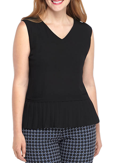THE LIMITED Plus Size Sleeveless Peplum Top