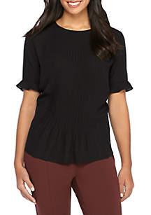 Plus Size Pleated Short Sleeve Blouse