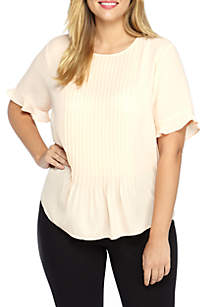 Plus Size Pleated Short Sleeve Blouse