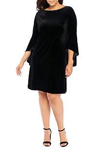 Plus Size Bell Sleeve Velvet Dress