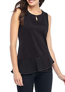 Sleeveless Bead Neck Curved Top