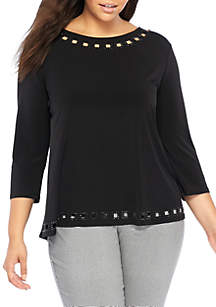 Plus Size Beaded Boat Neck Top